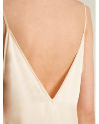 Raey - Metallic V-neck Silk-satin Midi Slip Dress - Lyst