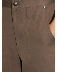 Helmut Lang - Brown High-rise Wide-leg Cotton And Linen-blend Trousers - Lyst