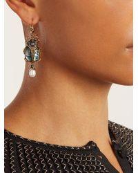 Alexander McQueen - Green Embellished Beetle-drop Abalone Earrings - Lyst