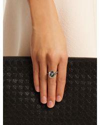 Bottega Veneta - Green Cubic-zirconia And Silver Ring - Lyst
