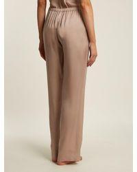 Carine Gilson - Multicolor Lace-trimmed Silk-satin Pyjama Trousers - Lyst