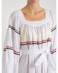 Lisa Marie Fernandez Rick Rack-trimmed Broderie Anglaise Cotton Midi Dress White