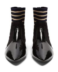 Acne - Black Amalee Striped-insert Leather Ankle Boots - Lyst