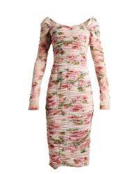 Dolce & Gabbana - Pink Rose-print Ruched-tulle Dress - Lyst