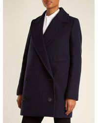 Stella McCartney - Blue Edith Double-breasted Wool-blend Coat - Lyst