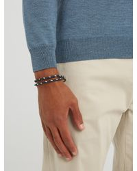 Tod's - Blue Mycolours Woven-leather Bracelet for Men - Lyst
