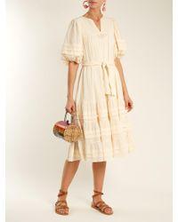 Zimmermann - Natural Prima Tuck Tie Waist Cotton Dress - Lyst