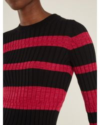 Proenza Schouler | Multicolor Long-sleeved Striped Wool-blend Cropped Sweater | Lyst