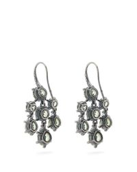 Bottega Veneta | Green Cubic-zirconia And Silver Chandelier Earrings | Lyst