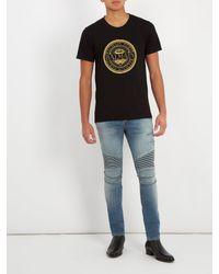 Balmain - Black Circular Logo-print Cotton T-shirt for Men - Lyst
