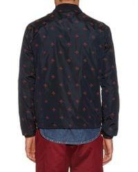 Gucci - Blue Detachable Hood Bee-print Nylon Jacket for Men - Lyst