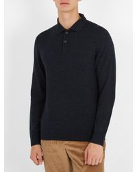 A.P.C. - Blue Ricky Long-sleeved Wool Polo Shirt for Men - Lyst