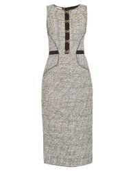 Oscar de la Renta | Multicolor Sleeveless Bouclé-tweed Pencil Dress | Lyst