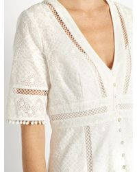 Zimmermann - White Caravan Embroidered Cotton Dress - Lyst