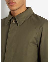 De Bonne Facture - Green Water-repellent Cotton-twill Overcoat for Men - Lyst