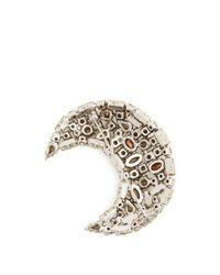 Saint Laurent - Metallic Moon Crystal-embellished Brooch - Lyst