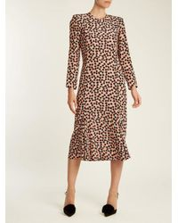 Raey - Pink Bracelet-sleeve Pleat-front Ditsy-print Silk Dress - Lyst