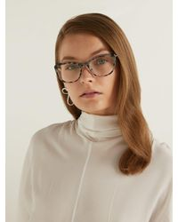 Prada - Brown Acetate Cat Eye Tortoiseshell Optical Glasses - Lyst