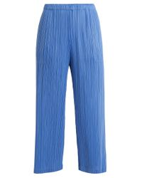 Pleats Please Issey Miyake | Blue Classic Wide-leg Pleated Trousers | Lyst