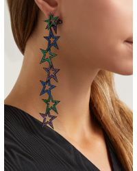 Lynn Ban - Multicolor Staggered Stardust Tsavorite & Rhodium Earrings - Lyst