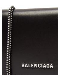Balenciaga - Black Logo Elasticated-band Leather Cardholder for Men - Lyst