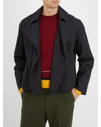 Lemaire - Blue Double-breasted Wool And Cotton-blend Jacket for Men - Lyst