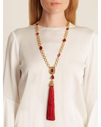 Oscar de la Renta - Red Crystal-embellished Pendant And Tassel Necklace - Lyst