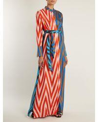 Diane von Furstenberg   Blue Odeon Chevron-print Silk Satin-twill Dress   Lyst