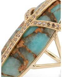 Jacquie Aiche | Metallic Diamond, Turquiose & Yellow-gold Ring | Lyst