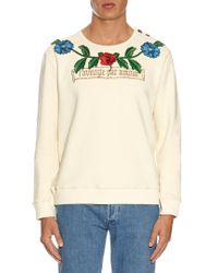 Gucci - Multicolor Flower And Tree Embroidered Cotton Sweatshirt - Lyst