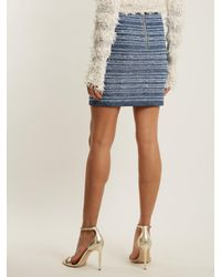 Balmain - Blue Button-embellished Striped Stretch-knit Mini Skirt - Lyst