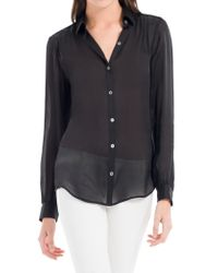 Leon Max | Black Translucent Silk Charmeuse Shirt | Lyst
