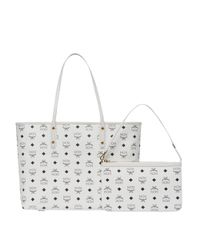 MCM - White Victory Patch Top Zip Shopper In Visetos - Lyst