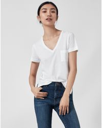 ME+EM | White Super Soft V Neck Tee | Lyst