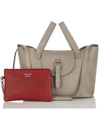 Meli Melo | Gray Thela Medium Tote Bag Taupe With Red Pouch | Lyst