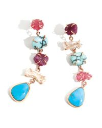 Melissa Joy Manning | Multicolor Spinel, Ruby, Pearl, And Turquoise Five Drop Earrings | Lyst