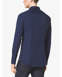 Michael Kors | Blue Slim-fit Stretch-cotton Shirt for Men | Lyst