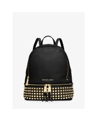 Michael Kors   Black Rhea Small Studded Leather Backpack   Lyst