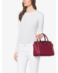 Michael Kors | Red Selma Studded Saffiano-Leather Satchel | Lyst