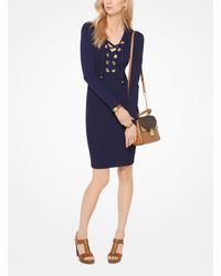 Michael Kors - Blue Lace-up Ribbed Dress - Lyst