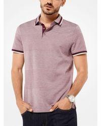 Michael Kors - Purple Striped Cotton-blend Polo Shirt for Men - Lyst