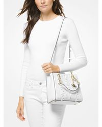 Michael Kors - White Cynthia Small Floral Embroidered Leather Satchel - Lyst