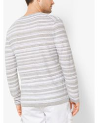 Michael Kors - Gray Striped Linen And Cotton Henley for Men - Lyst