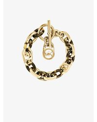 Michael Kors | Metallic Logo Chain-link Gold-tone And Tortoise Acetate Bracelet | Lyst