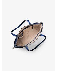 Michael Kors - Blue Jet Set Large Top-zip Leather Tote - Lyst