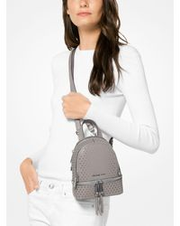 Michael Kors - Gray Rhea Mini Perforated Leather Backpack - Lyst