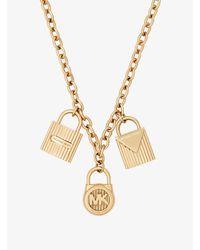 Michael Kors - Metallic Gold-tone Padlock Charm Necklace - Lyst