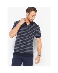 Michael Kors | Blue Striped Cotton Polo Sweater for Men | Lyst