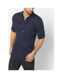 Michael Kors | Blue Tailored/classic-fit Linen Shirt for Men | Lyst