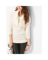Michael Kors   Natural Cowl-neck Merino Wool-blend Sweater   Lyst